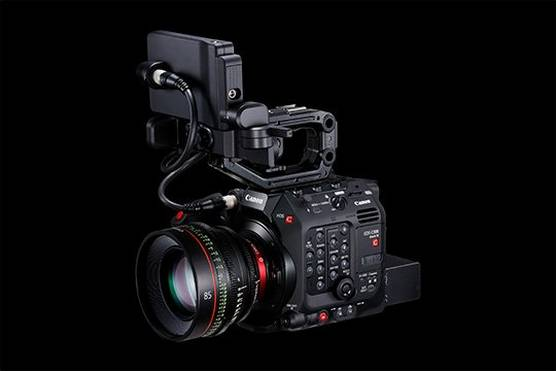 A Canon EOS C300 Mark III cinema camera with a CN-E85mm T1.3 L F Cine Prime lens.
