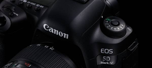 Close-up of a Canon EOS 5D Mark IV.
