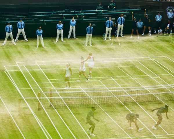 A multiple exposure made up of three images taken during the 2019 Wimbledon Championships Girls' Singles final.