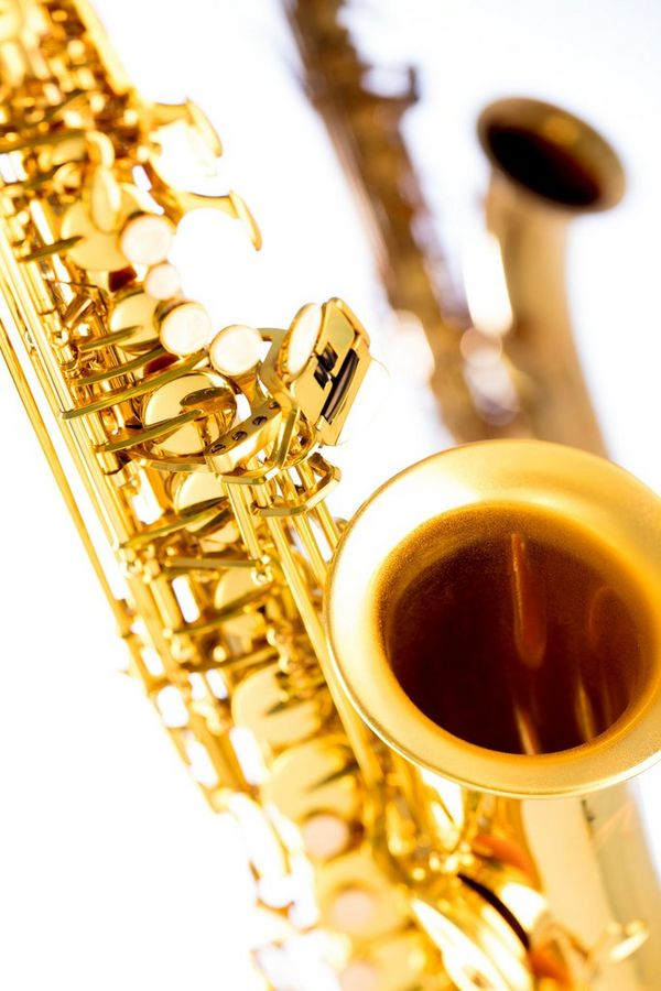 A close-up of a saxophone.