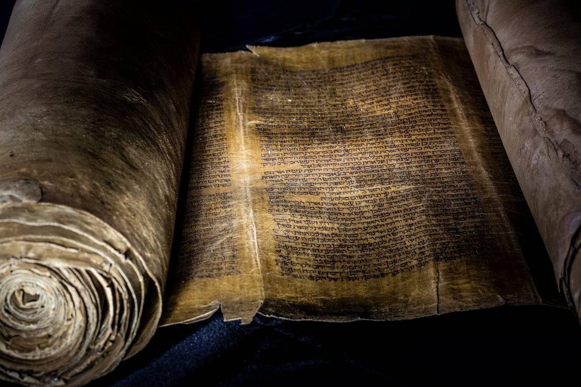 An ancient Torah scroll on parchment, photographed by Paolo Verzone with a Canon EOS 5DS R.