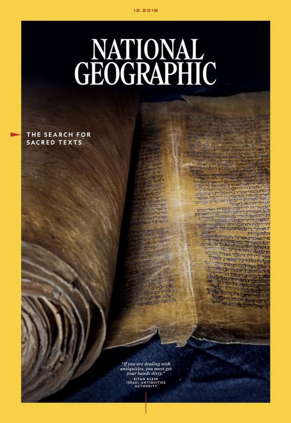The cover of the English language National Geographic Magazine featuring Paolo Verzone's photo of an ancient Torah scroll.