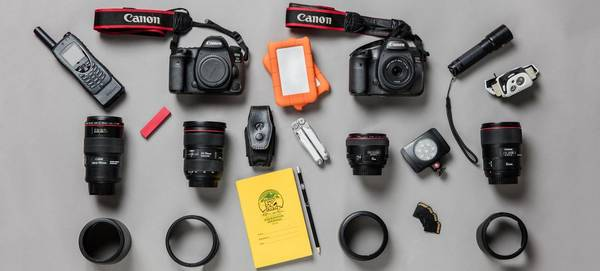 The contents of Paolo Verzone's photo kitbag, including a Canon EOS 5DS R.