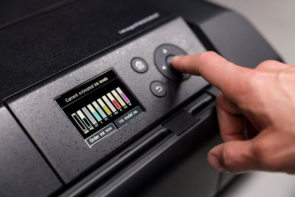 The settings screen on a Canon imagePROGRAF PRO-300 printer showing ink levels.