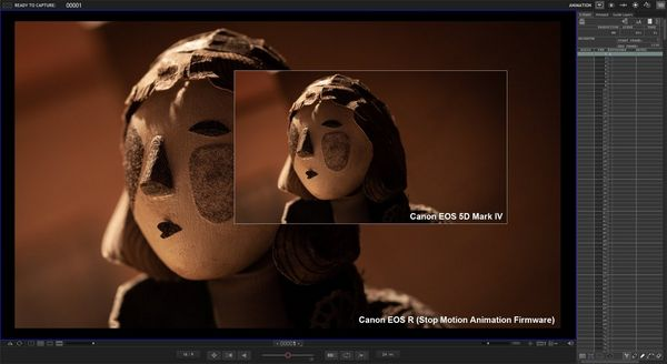 A screenshot of the Dragonframe stop motion animation software demonstrating how the firmware upgrade produces a Live View image that's twice the size of the image from a Canon EOS 5D Mark IV.
