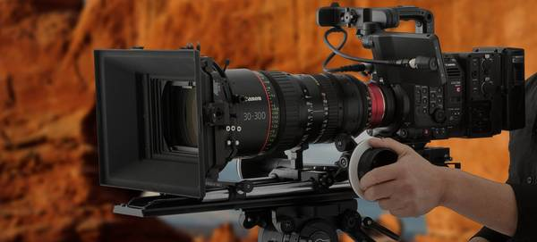 A Canon EOS C500 Mark II with 30-300mm cine lens.