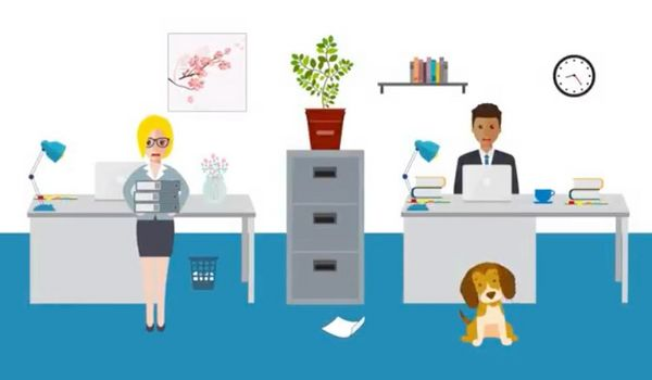 Cartoon-style graphic of an office, with blond woman, dark haired man and a dog among desks and a filing cabinet with a plant on top。