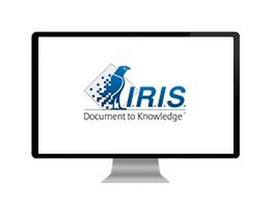 Large desktop computer screen displaying I.R.I.S brand logo with a blue pixelated bird and 'Document to Knowledge' text beneath.