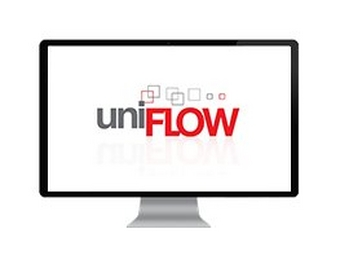 Large desktop computer screen displaying a white background with grey and red uniFLOW brand logo in the middle.