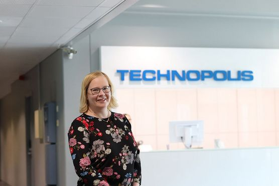 Female smiling technopolis