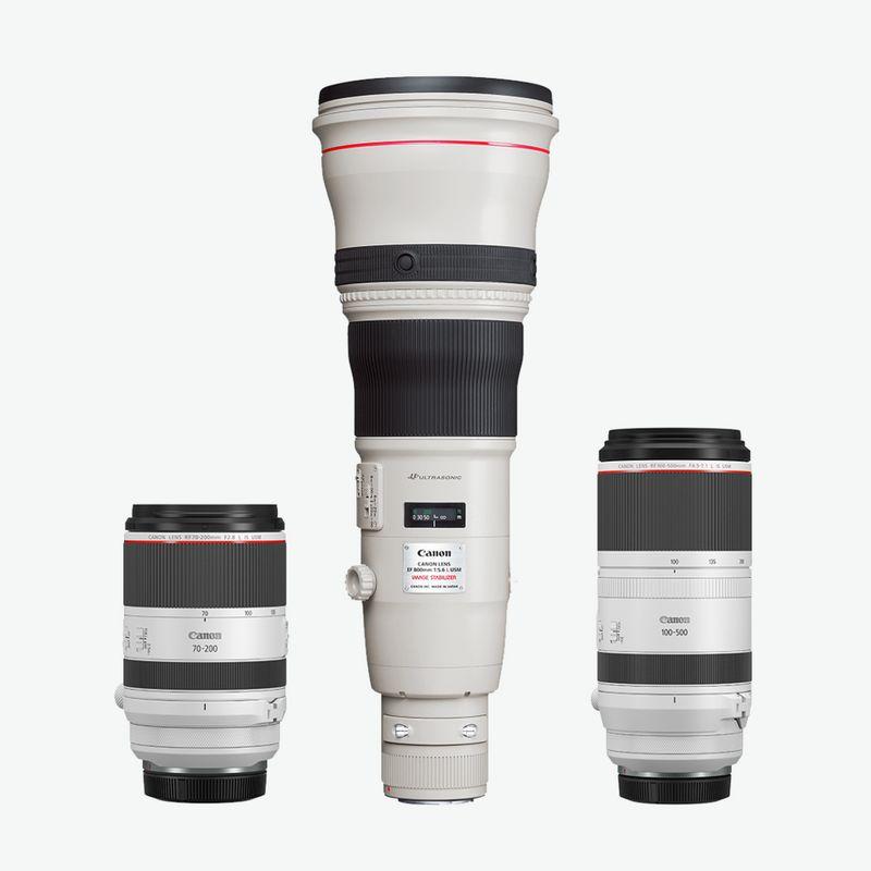 Telephoto lens range packshots