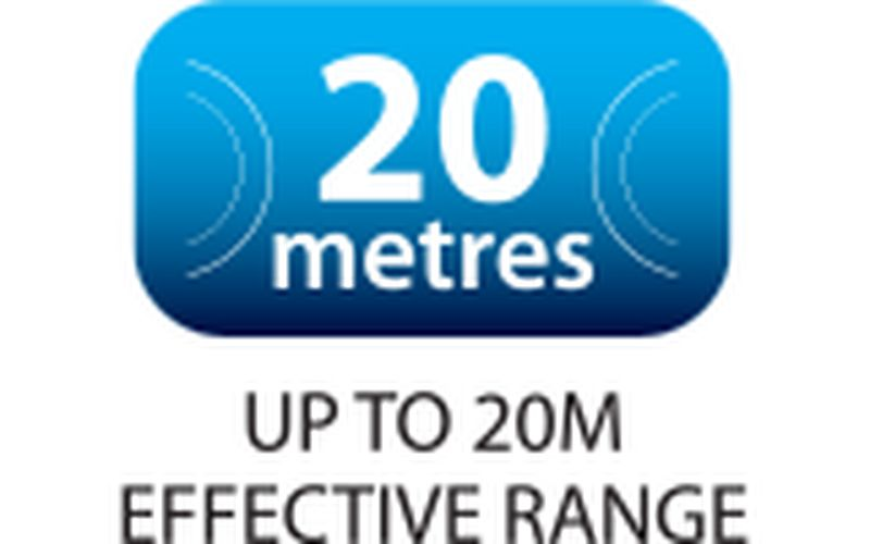 long wireless range of up to 20 m