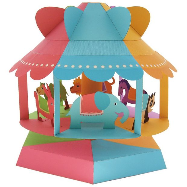 A colourful papercraft merry-go-round.