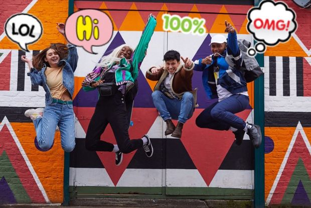 A picture of 4 young people jumping in the air with speech bubbles and other AR text added.