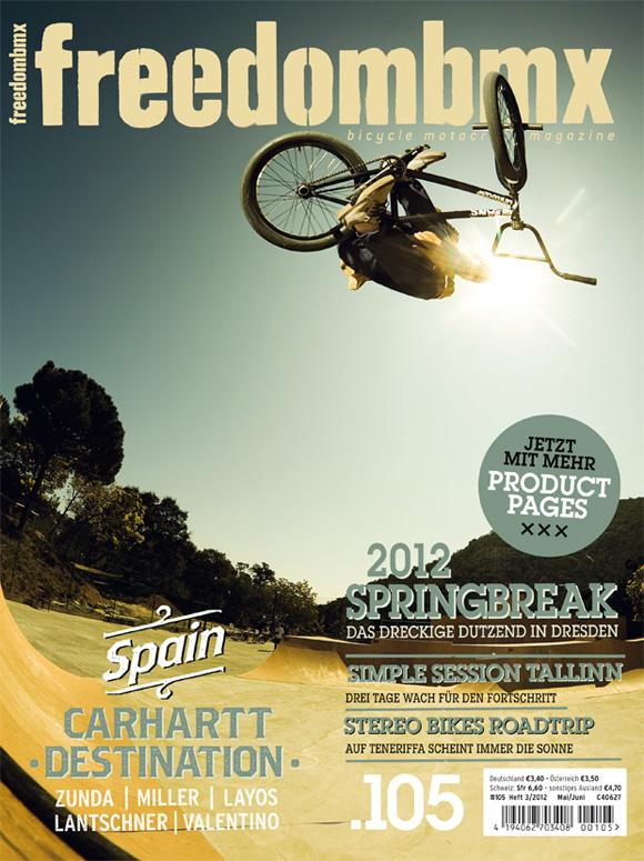 Carhartt teamrider Alex Valentino getting the cover of the new freedom BMX mag