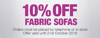 10% Off Fabric Sofas