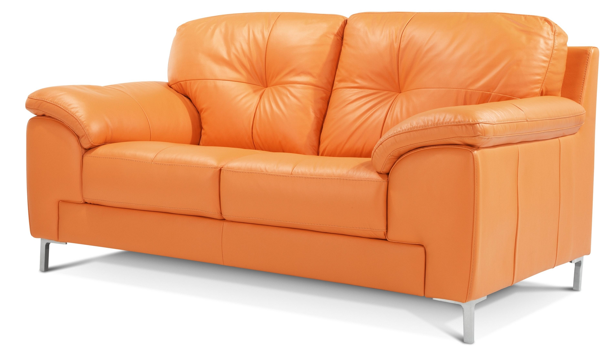 DFS AINSLEY 100% REAL LEATHER ORANGE 2 SEATER SOFA