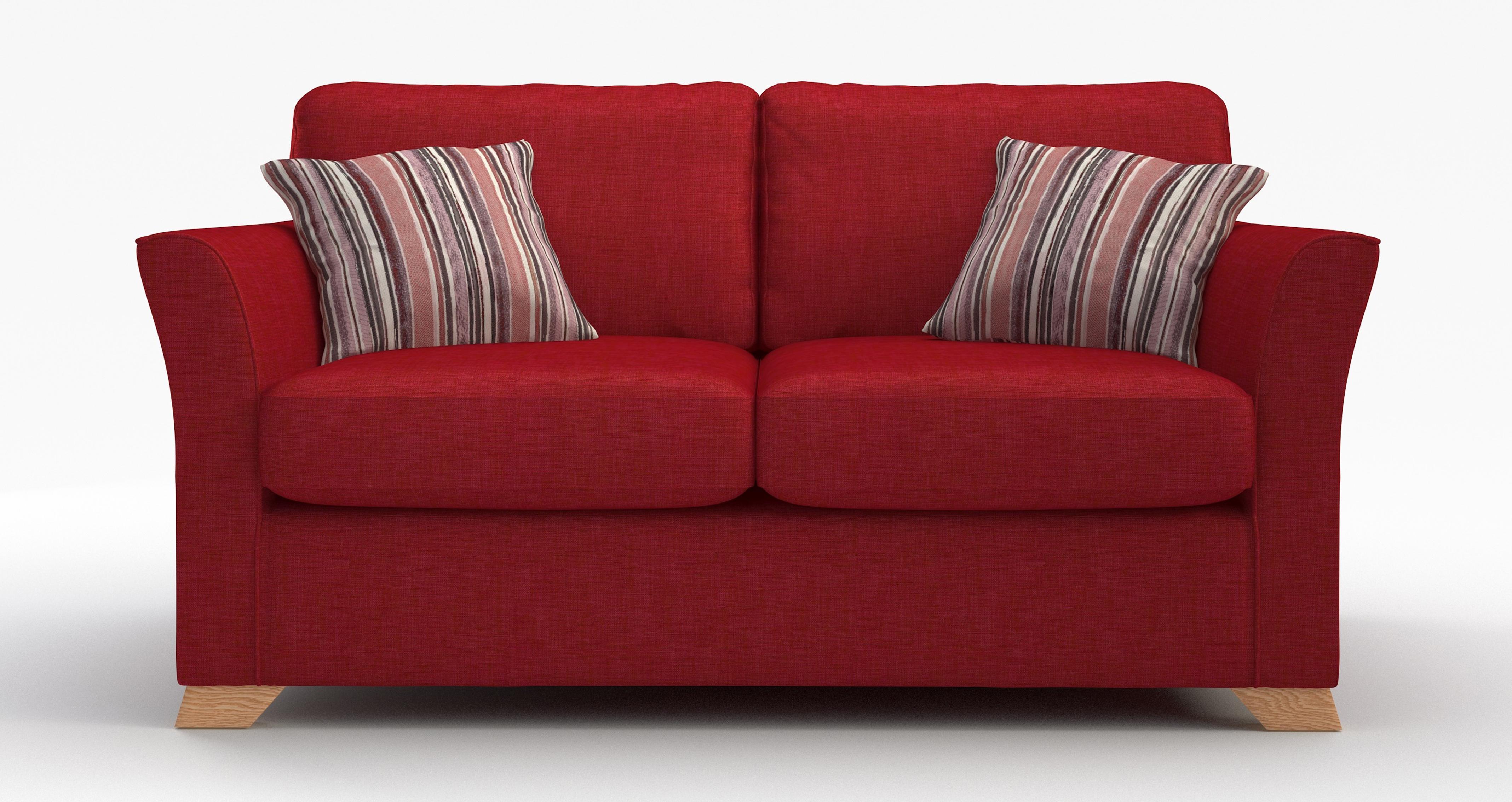 DFS Zuma Red Fabric Range - 3 Seater, 2 Str, Sofa Bed ...