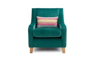 Velvet Accent Chair with 1 Pattern Bolster