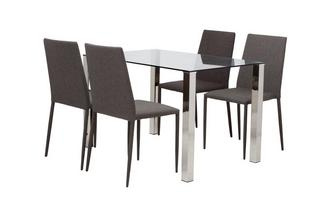 Fixed Top Dining Table and 4 Zenn Chairs Alexo