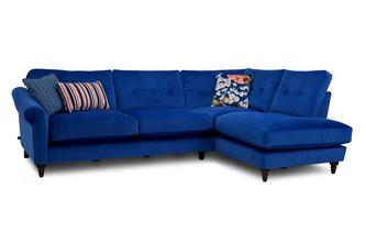 Velvet Left Hand Facing Arm Open End Corner Sofa