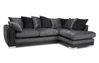 Pillow Back Left Hand Facing 3 Seater Open End Corner Sofa Carrara