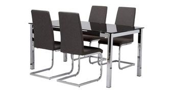 Bravo Fixed Top Dining Table and 4 Vitra Chairs