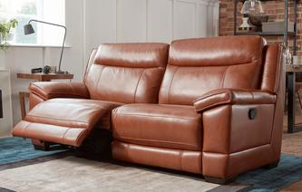 Braxton 3 Seater Manual Recliner Brazil with Leather Look Fabric