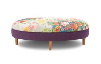 Small Floral Top Oval Footstool