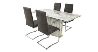 Carrera Extending Dining Table & Set of 4 Pisa Chairs