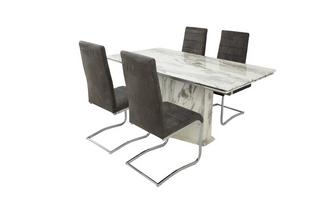 Extending Dining Table & Set of 4 Pisa Chairs Carrera