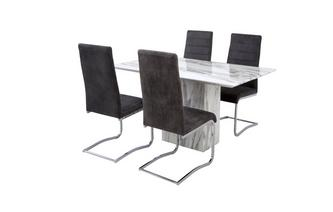 Fixed Dining Table & Set of 4 Pisa Chairs