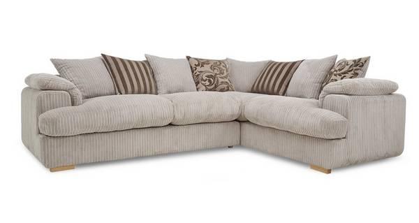 Celine Left Arm Facing 2 Seater Pillow Back Deluxe Corner Sofa Bed