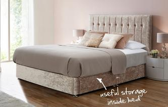 Chelsea Double 2 Drawer Bed (Crush) Crush Fabric