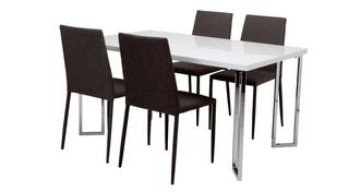 Chic Dining Fixed Top Table and 4 Zenn Chairs