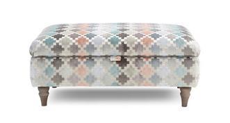 Claudette Pattern Storage Banquette Footstool