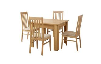 Small Fixed Top Table & Set of 4 Slat Back Chairs Clover