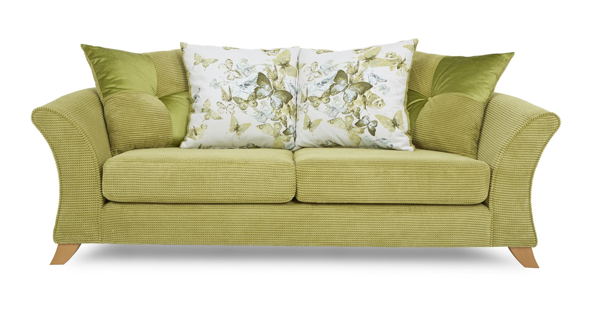 DFS Corinne Lime Green Fabric 3 Seater Pillow Back Sofa