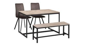 Corsica Fixed Top Table with 2 Fabric Chairs and Bench