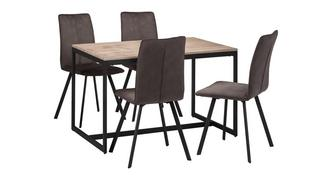 Corsica Fixed Top Table and 4 Fabric Chairs