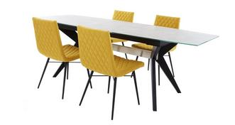 Crete Extending Dining Table & Set of 4 Fabric Quilted Chairs