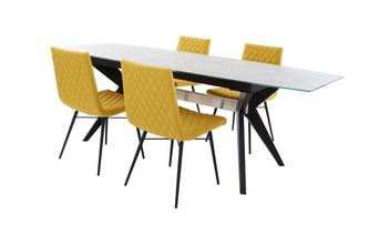 Extending Dining Table & Set of 4 Fabric Quilted Chairs Crete