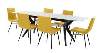 Crete Extending Dining Table & Set of 6 Fabric Quilted Chairs