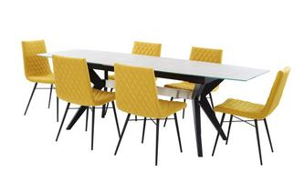 Extending Dining Table & Set of 6 Fabric Quilted Chairs Crete