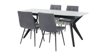 Crete Extending Dining Table & Set of 4 Faux Dining Chairs