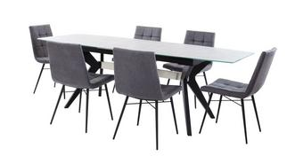 Crete Extending Dining Table & Set of 6 Faux Dining Chairs