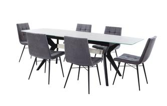 Extending Dining Table & Set of 6 Faux Dining Chairs Crete