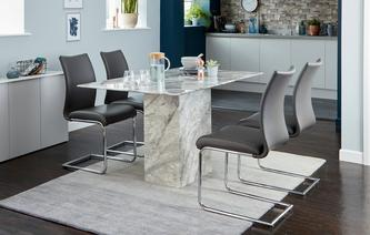 Damara Dining Table & Set of 4 Cantilever Chairs Damara