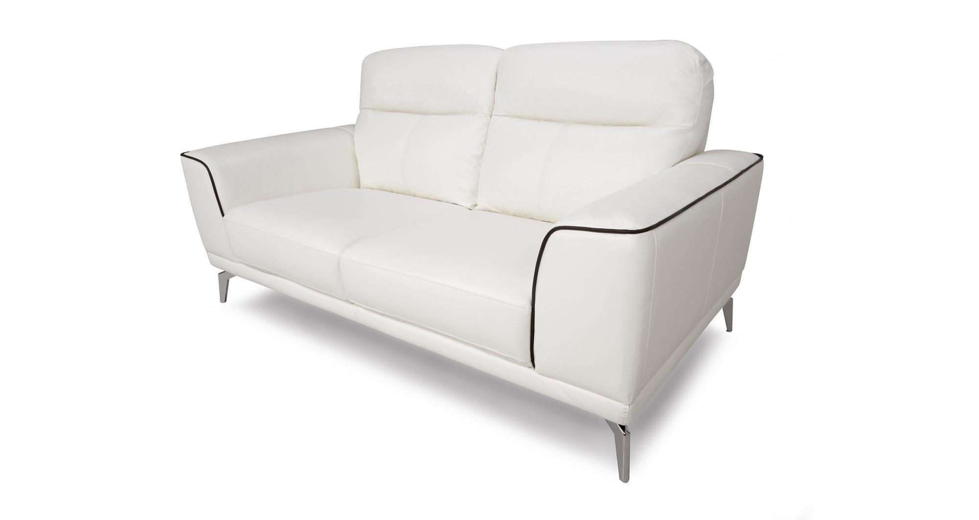 Dfs Denver Snow White Leather 2 Seater Sofa Ebay