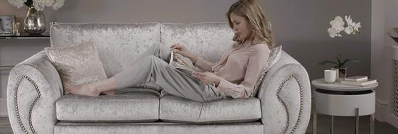 relax on a fabric sofa